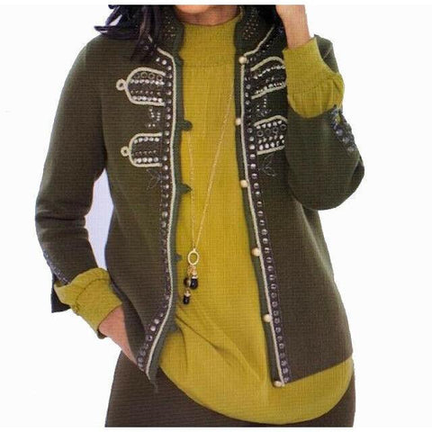 CHICOS 2 (12) military embellished sweater jacket cardigan olive $139 studs-Clothing, Shoes & Accessories:Women's Clothing:Sweaters-Chico's-2-Army green-Jenifers Designer Closet