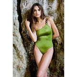 MELISSA ODABASH 40 2/4 swimsuit 1pc one-shoulder olive bathing suit