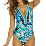 TRINA TURK 6 swimsuit deep plunging maillot blue aqua backless one piece - Jenifers Designer Closet