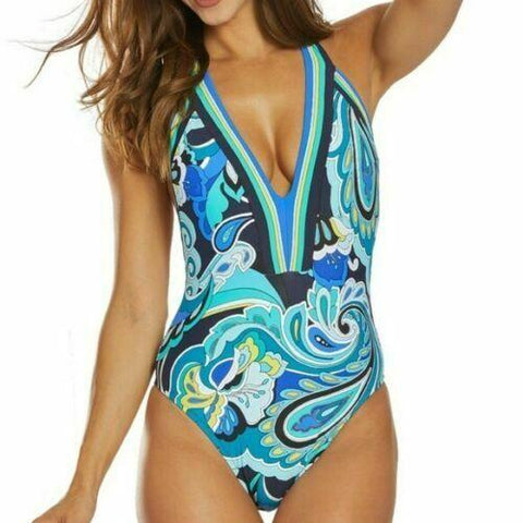 TRINA TURK 6 swimsuit deep plunging maillot blue aqua backless one piece