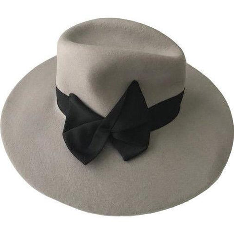 GIORGIO ARMANI COLLEZIONI Wool ladies Hat SZ 57 with black bow $375 retail-Hat-Giorgio Armani-57-Gray w/black band and bow-Jenifers Designer Closet
