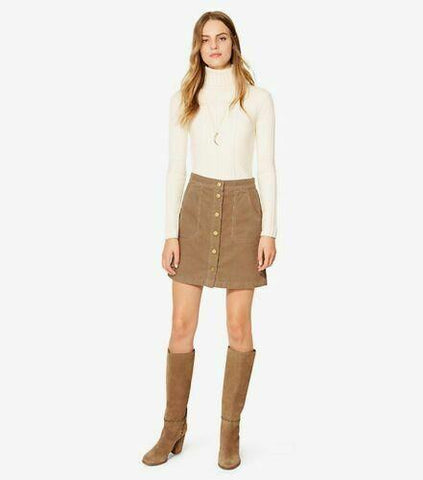 TORY BURCH 6 corduroy short mini skirt beach wood tan snap front Lucitano - Jenifers Designer Closet