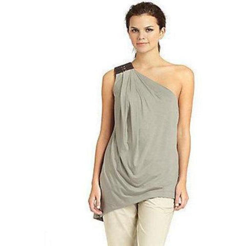 KAUFMANFRANCO one shoulder asymmetric top with leather $795 twine jersey-Clothing, Shoes & Accessories:Women's Clothing:Tops & Blouses-KaufmanFranco-Jenifers Designer Closet