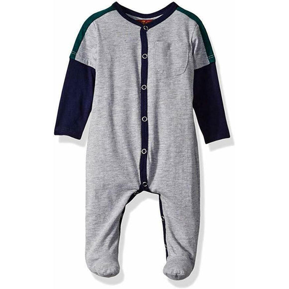 7 For All Mankind 3-6 mo infant baby onesie footie footed outfit snap gray