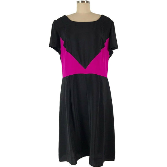 AMANDA UPRICHARD 20 plus-sized SILK dress black with hot pink insets $260