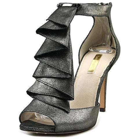 LOUISE et CIE 8.5 heels sandal shoes stilettos zipper heel leather metallic-Clothing, Shoes & Accessories:Women's Shoes:Heels-Louise et Cie-8.5 M-Metallic iron stucco-Jenifers Designer Closet