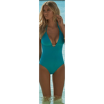 MELISSA ODABASH 38 2 XS Casablanca One piece Swimsuit teal halter v-neck - Jenifers Designer Closet
