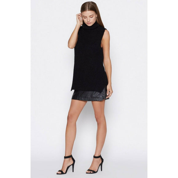 JOIE Alpaca M wool sleeveless turtleneck sweater so soft black caviar $248-Clothing, Shoes & Accessories:Women's Clothing:Sweaters-Joie-Medium-Black-Jenifers Designer Closet