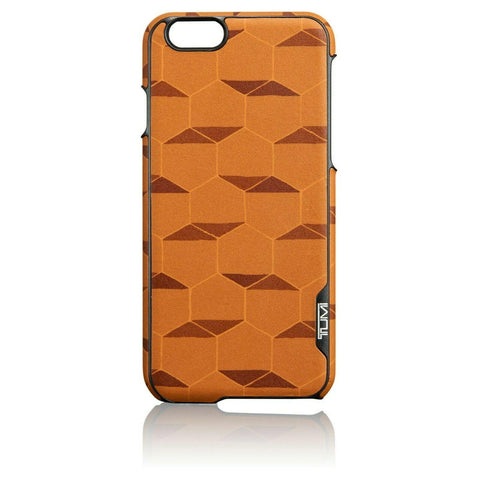 TUMI iPhone 6 genuine leather cell phone snap case tan hexagon