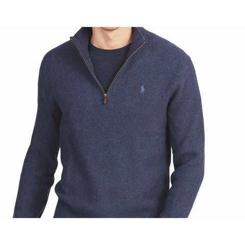 POLO RALPH LAUREN XXL 2XL 1/4 Zip sweater navy heathered men's cotton XXL-Clothing, Shoes & Accessories:Men's Clothing:Sweaters-Polo Ralph Lauren-XXL/2XL-Navy-Jenifers Designer Closet