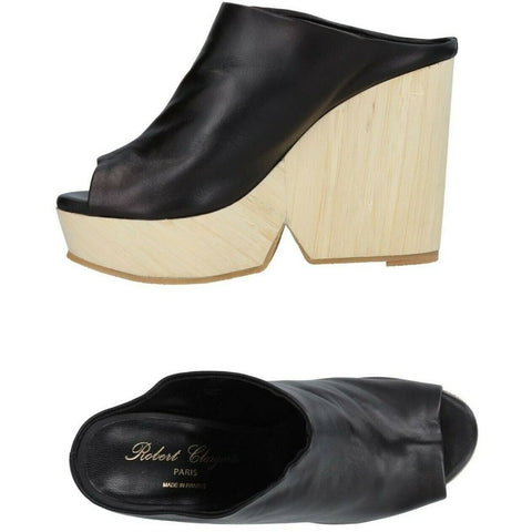 ROBERT CLERGERIE Paris 38 7.5 platforms slides mules shoes wedges $550-Clothing, Shoes & Accessories:Women:Women's Shoes:Heels-Robert Clergerie-38-Black-Jenifers Designer Closet