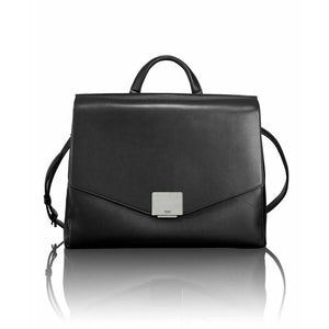 TUMI Mariella satchel black Leather bag briefcase flap laptop case $895