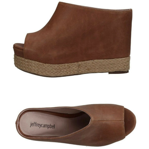 JEFFREY CAMPBELL 39 brown leather platform wedges slides mules-Clothing, Shoes & Accessories:Women's Shoes:Heels-Jeffrey Campbell-Jenifers Designer Closet