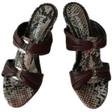 AQUATALIA by Marvin K. Italy 8.5 B shoes slides wedges sandals heels snake-Clothing, Shoes & Accessories:Women's Shoes:Heels-Aquatalia-8.5-Brown/snake-Jenifers Designer Closet