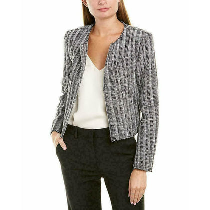 THEORY 6 Ualana Cailen tweed jacket blazer coat career stripe $395 black-Clothing, Shoes & Accessories:Women:Women's Clothing:Coats, Jackets & Vests-Theory-Jenifers Designer Closet