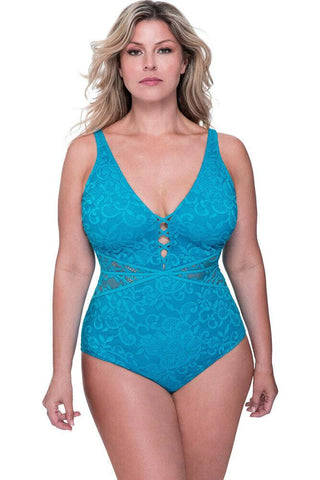 GOTTEX one piece swimsuit lace peacock blue tummy control
