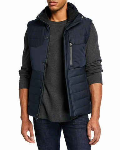 TUMI XXL 2XL Heritage Reversible duck down-filled vest navy blue/black men's - Jenifers Designer Closet