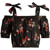 REBECCA TAYLOR 4 Marguerite black floral cold-shoulder crop top midi $250