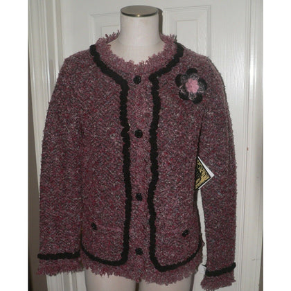 CURIO L Anthropologie Boucle sweater jacket Rosette brooch pin cardigan-Clothing, Shoes & Accessories:Women's Clothing:Sweaters-CURIO-Large-Mauve/Black-Jenifers Designer Closet