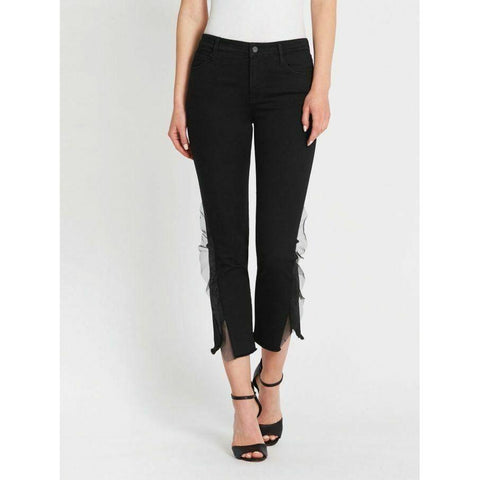 J BRAND 835 Photo Ready 24 skinny jeans organza trim black $278 evening haze-Clothing, Shoes & Accessories:Women:Women's Clothing:Jeans-J Brand-Jenifers Designer Closet