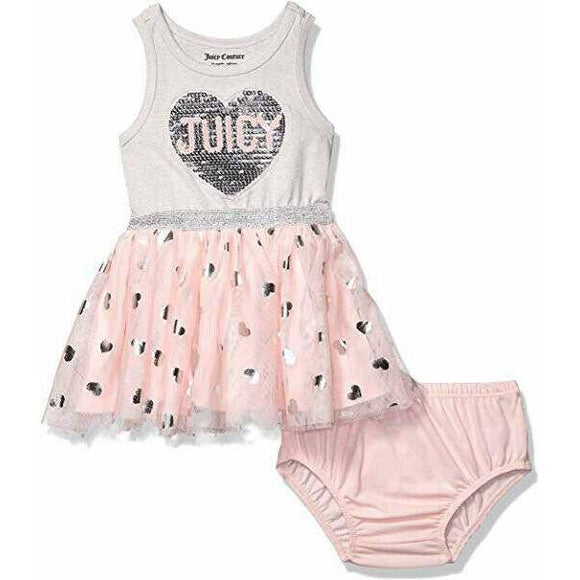 JUICY COUTURE 18 mos sequins tulle pink silver infant baby tutu girls outfit