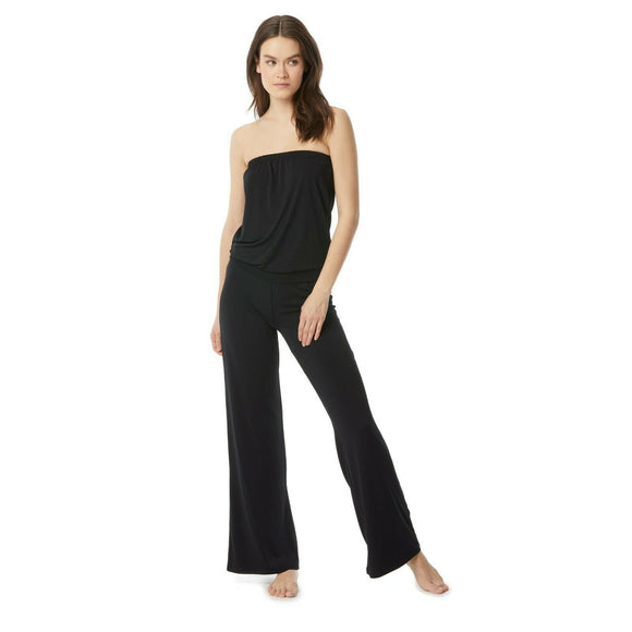 CARMEN MARC VALVO SM jumpsuit swimsuit coverup black strapless bandeau