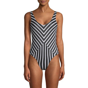 TORI PRAVER  swimsuit black white striped 1 piece cheeky maillot