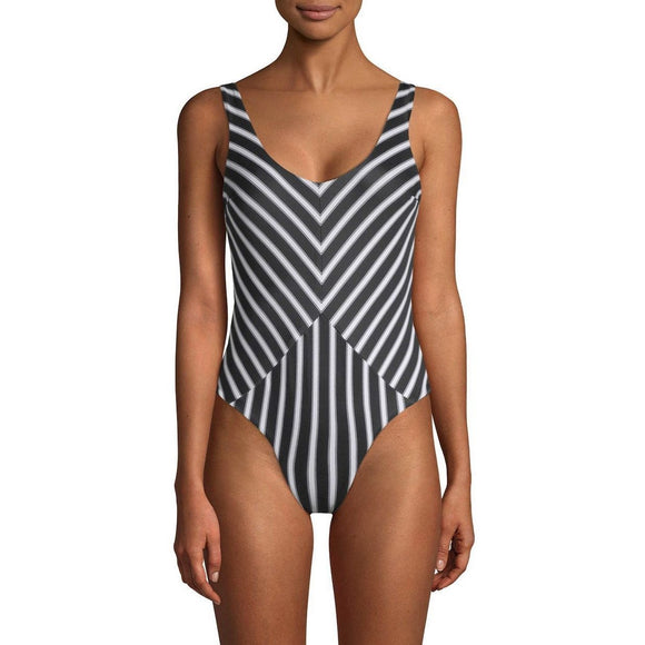 NWT TORI PRAVER  swimsuit black white striped 1 piece cheeky designer maillot