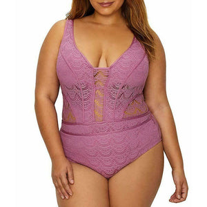 BECCA by Rebecca Virtue Plus Size crochet One-Piece Swimsuit mauve