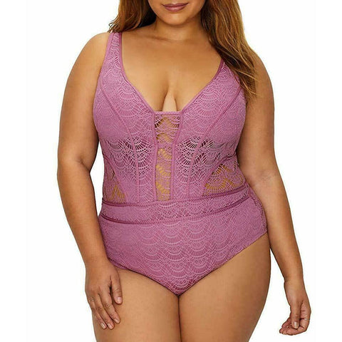 BECCA by Rebecca Virtue Plus Size crochet One-Piece Swimsuit mauve-Clothing, Shoes & Accessories:Women's Clothing:Swimwear-BECCA-Jenifers Designer Closet