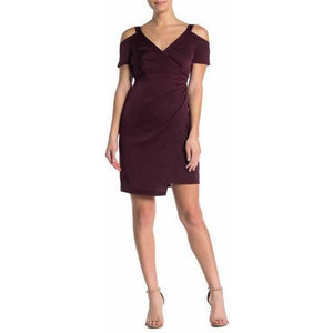 ALLSAINTS US-6 UK-10 Cadia maroon wrap dress cold-shoulder casual party