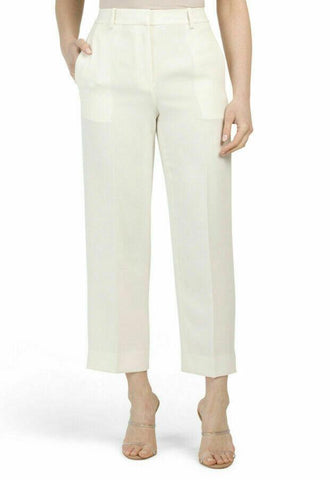 THEORY 6 high waist pants slacks trousers straight Rice crepe cream $335 - Jenifers Designer Closet