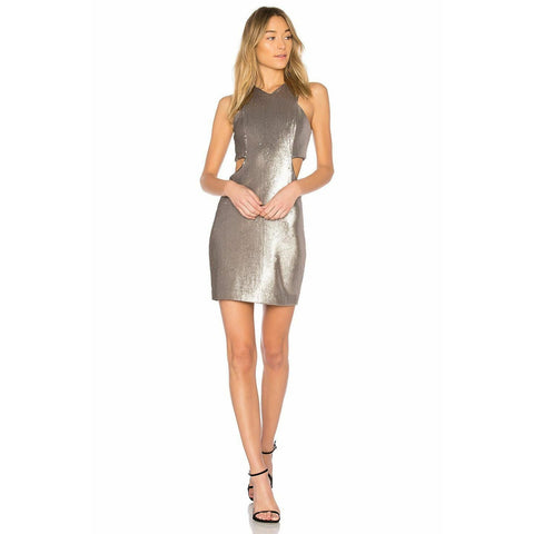 HALSTON cocktail 8 formal party dress Silver Sequins cutout short metallic - Jenifers Designer Closet