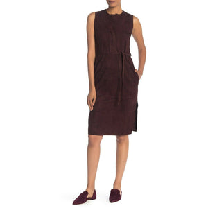 VINCE 4 brown lambskin buttersoft suede leather midi dress v-neck knee $995