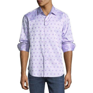 ROBERT GRAHAM shirt LG purple polka dots $198 long sleeves men's