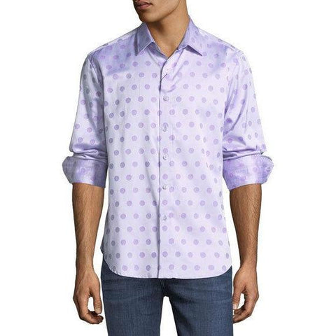 ROBERT GRAHAM shirt LG purple polka dots $198 long sleeves men's-Clothing, Shoes & Accessories:Men's Clothing:Shirts:Casual Button-Down Shirts-Robert Graham-Large-Purple-Jenifers Designer Closet