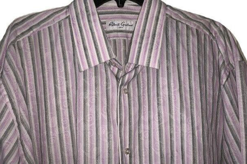 ROBERT GRAHAM Size-18.5 TALL BIG men's striped shirt lavender black