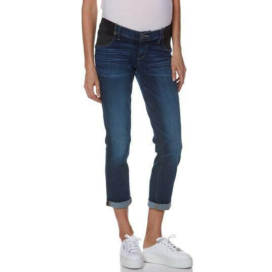 PAIGE Denim Maternity blue jeans 27 side gussets straight or cuffed skinny