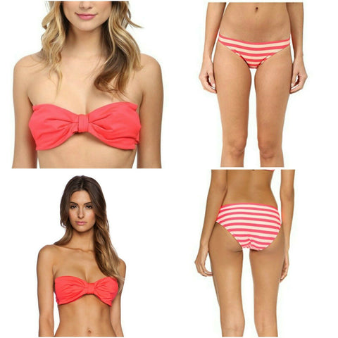 KATE SPADE swimsuit S bikini 2PC set underwire Bow bandeau Georgica-Clothing, Shoes & Accessories:Women's Clothing:Swimwear-Kate Spade-Small-Geranium-Jenifers Designer Closet