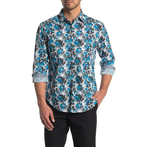 ROBERT GRAHAM shirt LG blue contrast cuffs abstract design men's-Clothing, Shoes & Accessories:Men:Men's Clothing:Shirts:Casual Button-Down Shirts-Robert Graham-Large-Blue-Jenifers Designer Closet