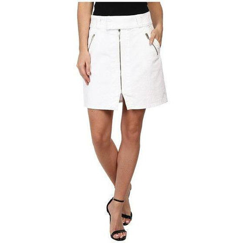 7 For All Mankind 26 white denim mini skirt zippers short A-line designer ladies-Clothing, Shoes & Accessories:Women's Clothing:Skirts-7 For All Mankind-26-white-Jenifers Designer Closet