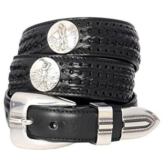 NWT BRIGHTON silver black leather 30 LOGAN Onyx golf belt men's sharp