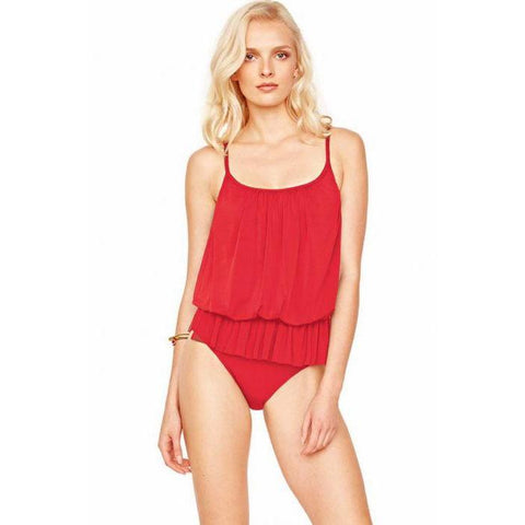 GOTTEX 10 blouson swimsuit one-piece mesh overlay underwire RED-Clothing, Shoes & Accessories:Women's Clothing:Swimwear-Gottex-10-Red-Jenifers Designer Closet