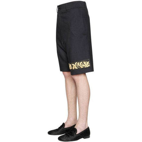 LORDS & FOOLS Paris 38 men's shorts Magasin wool gold embroidered $484-Shorts-Lords & Fools-38-Navy-Jenifers Designer Closet
