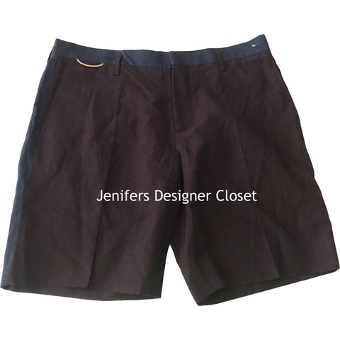 MARC JACOBS Men's Shorts 36/52 Italy Cotton Linen Blend Navy Burgundy-Shorts-MARC JACOBS-36/52-burgundy/navy-Jenifers Designer Closet