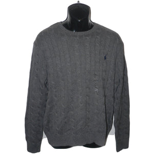 NWT POLO RALPH LAUREN XL cable knit crew neck sweater gray men's cotton