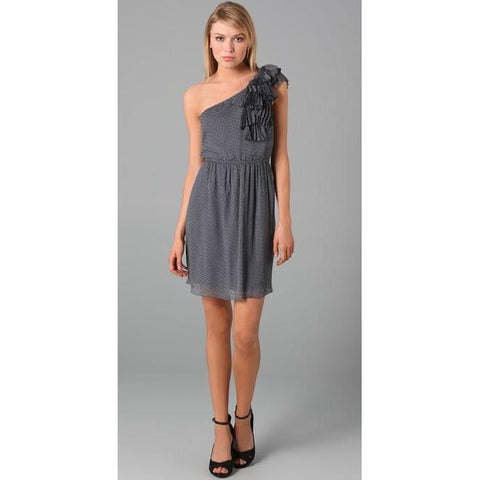 REBECCA TAYLOR 6 gray 1 shoulder ruffled dress dot Silk chiffon party mini-Dresses-Rebecca Taylor-6-Gray-Jenifers Designer Closet