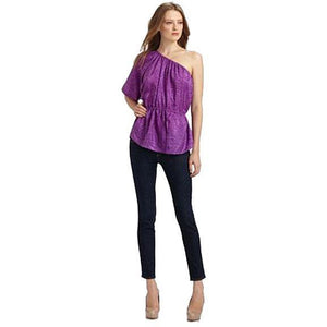 NWT REBECCA TAYLOR 6 one-shoulder top sand washed silk shirt snake