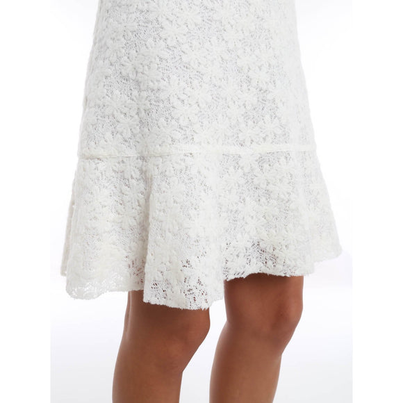 NWT SEE by CHLOE trapeze skirt lace 40 4 off-white lined mini felted $359 soft