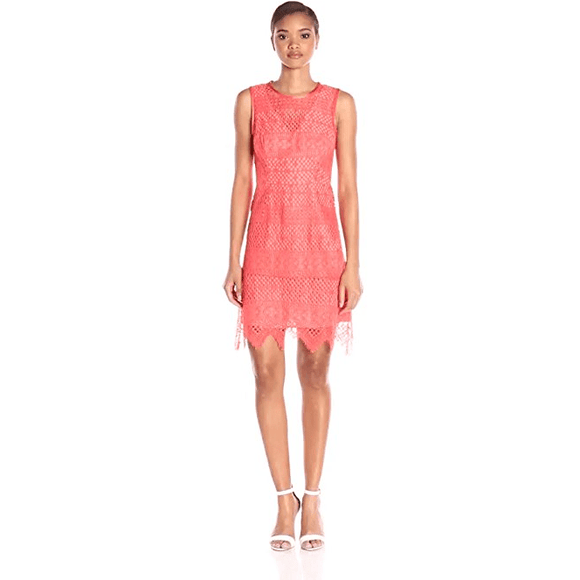 NWT SHOSHANNA lace dress 2 salmon orange $395 crochet zig-zag hemline corded
